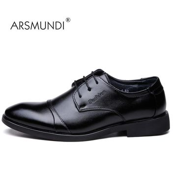 ARSMUNDI Original Men Dress Shoes Fall 2017 Man's Shoes Genuine Leather Breathable Waterproof Gift Mens Dress Shoes JZ-8136