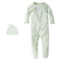 Burts Bees Baby™ Newborn Neutral Stripe Coverall and Hat Set