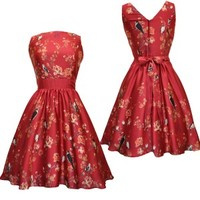 Red Bird Floral Tea Dress - Clothing