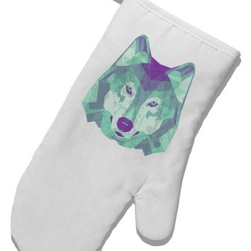 Geometric Wolf Head White Printed Fabric Oven Mitt by TooLoud