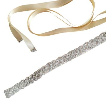Vintage Bridal Handmade Ribbon Rhinestone Pearl Crystal Wedding Dress Belt Sash Color:White,Champagne,Grey,Black