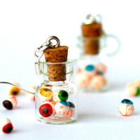 Creepy earrings in a jar polymer clay eyeballs miniature bottle hoop, creepy jewelry