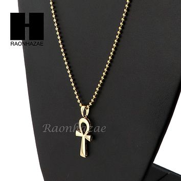 Sterling Silver .925 Egyptian Mini ANKH Cross 2.5mm Moon Chain12