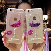 Fashion Quicksand Rhinestone Wine Glass Pattern Phone Case