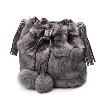Soft Faux Rabbit Fur Women Bucket Bag 2017 Lady Tote Purse Handbag Shoulder Crossbody Bag Fashion Designer Women Messenger Bags