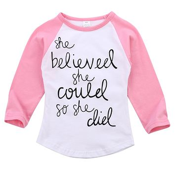 She Believed She Could So She Did Girl Long Sleeves Shirt Baby Kid Child Toddler Newborn