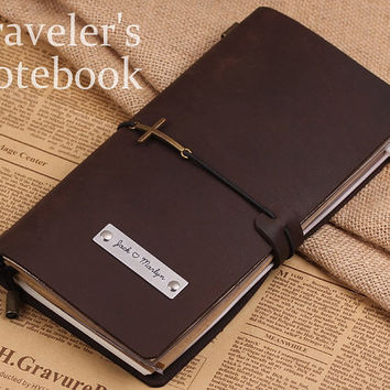Personalized MIDORI Style Traveler's Notebook - Handmade Traveler Journal Refillable Leather Cover Gift Ideas