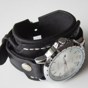 Men's Leather Cuff Watch Bracelet Wristband Handmade Black, Bracelet Watch, Mens Gift