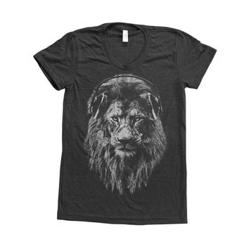 LION Shirt Women Custom Hand Screen Printed on American Apparel Tri-Blend Short Sleeve Tshirt Available: S, M, L, XL