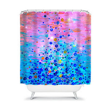 WHAT GOES UP, Revisited - Fine Art Painting Shower Curtain Washable Home Decor Beautiful Pink Turquoise Blue Bubbles Modern Stylish Bathroom