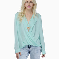 Long Sleeve Draped Blouse with Collar