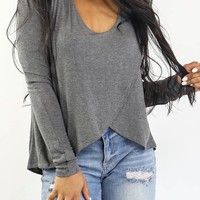 Give Me Love Gray Choker Neck Swing Top