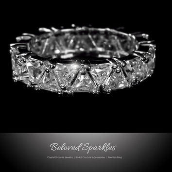 Tania Trillion Cut Eternity Stackable Ring | 6 Carat | Cubic Zirconia