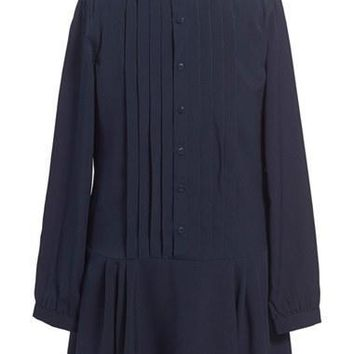 Girl's Ralph Lauren Pleated Georgette Long Sleeve Dress,