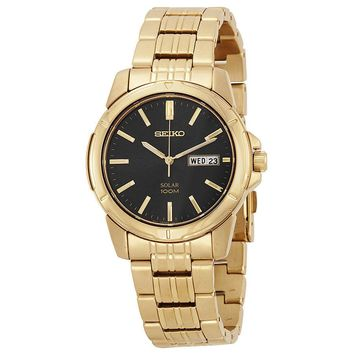 Seiko Solar Black Dial Gold-Tone Stainless Steel Mens Watch SNE100