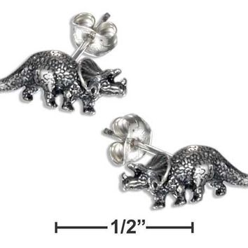 STERLING SILVER TRICERATOPS DINOSAUR EARRINGS ON STAINLESS STEEL POSTS/NUTS