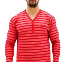 Triple Striped Thermal Henley Red. Size: MD
