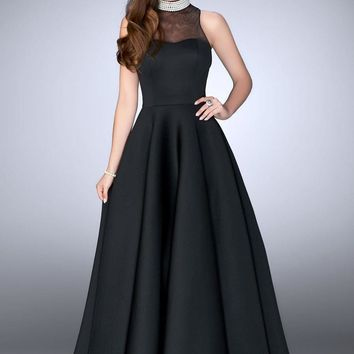 La Femme - 24607 Sleeveless Long Black Prom Dress with Pearl Collar