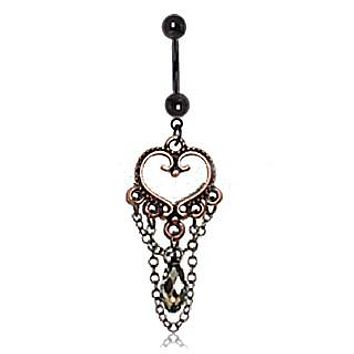 Antique Copper Plated Vintage Heart Navel Ring