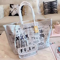 Goyard High Quality Fashion Women Shopping Leather Tote Handbag Shoulder Bag Purse Wallet Set Two-Piece White