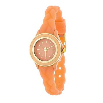 Carmen Braided Watch with Coral Rubber Strap