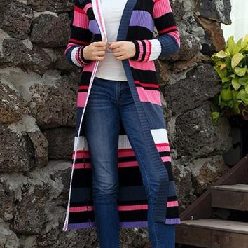 Chic Multicolor Striped Colorblock Open Front Long Cardigans For Women