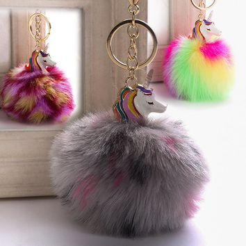 9cm Plush Phone Strap Charm Keychain Ornaments Puff Ball Unicorn Pendant Fluffy Ball