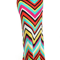 Chevron Printed Maxi Skirt - Red/Teal