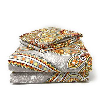 Tache Sunshine Festival White Gold Red Fancy Paisley Patterned Duvet Cover Set (2811)