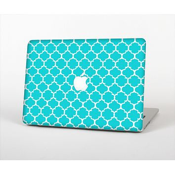 The Teal And White Seamless Morocan Pattern Skin Set for the Apple MacBook Pro 15""