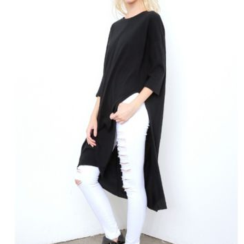 Black Loose Large Size Long Slit T-Shirt