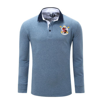 Europe Size New Brand Men's Solid Long Sleeve Polo Shirt Autumn Full Sleeve Warm Shirt Casual Tops Jeans Blue Plus Size 056
