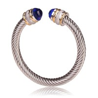 Style Cable Bracelet Gold & Matte Silver with Blue Crystal Gem
