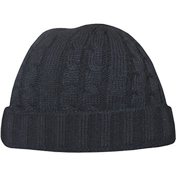 Teddyt's Men's Cable Knit Design Chunky Thermal Winter Beanie Hat With Turnover Brim One Size Black