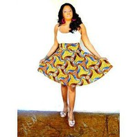 Brown African Ankara Print Midi Skirt