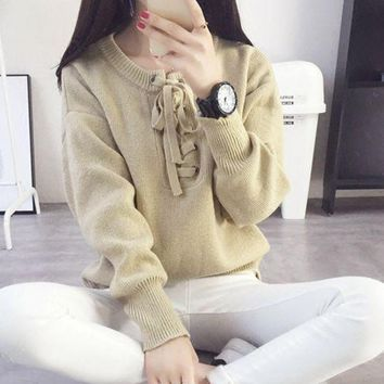CREYIH3 Neckline lace bow tie sweater female fashion hedging solid sweater
