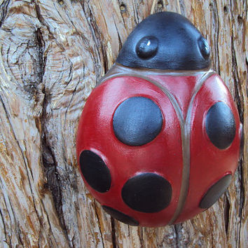 Ladybug Stone Garden Wall Hanging, Home Decor