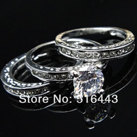 3pcs Upscale 3 in 1 Austria Crystal Cubic Zircon Rhinestones 18k White Gold Engagement Wedding Women Ring Set A-627 = 1931963844