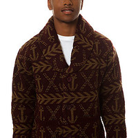 Obey Sweater Anchors Cardigan in Burgundy