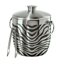 Zebra Print Stainless Steel Double Wall Ice Bucket with Tongs