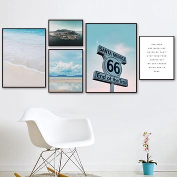 Street Sign Cloud Beach Sea Island Quotes Nordic Posters And Prints Wall Art Canvas Painting Wall Pictures For Living Room Decor
