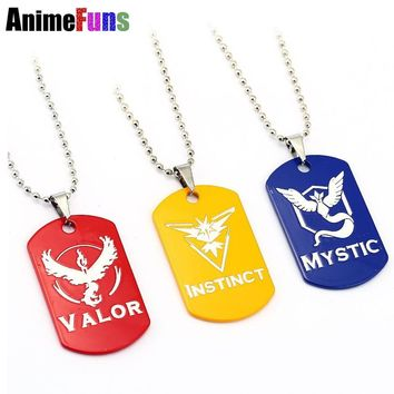 New  Go Dog Tag Necklace Game Anime Metal Team Valor Mystic Instinct Logo Bead Chain for Women and Men necklaceKawaii Pokemon go  AT_89_9