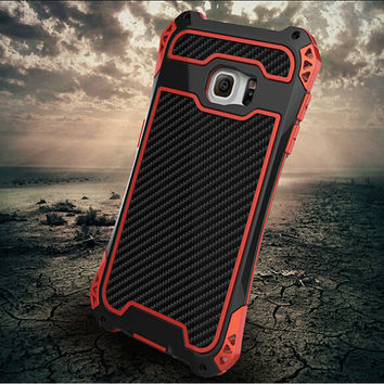 Waterproof Shockproof Carbon Fiber Aluminum Case For Samsung Galaxy S5 S6 Note 5 Metal Armor Cover With Gorilla Tempered Glass