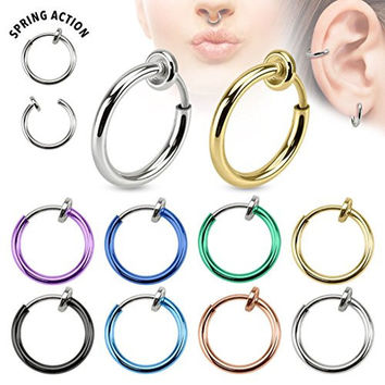 Spring Action Titanium IP Over 316L Stainless Steel Non-Piercing Septum, Ear and Nose Hoop (Rose Gold)
