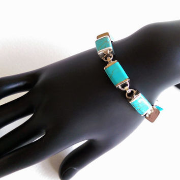 Turquoise Inlay Sterling Silver Link Bracelet with Toggle Clasp Mexico