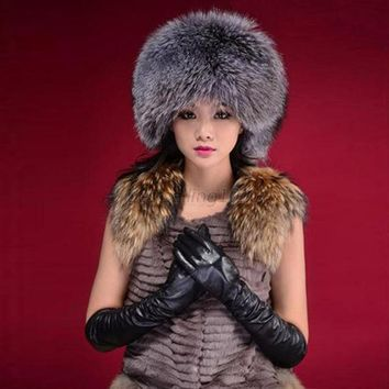 Fashion Warm Winter Tail Beanie Beret Cap Women Faux Fur Ear Earflap Hat