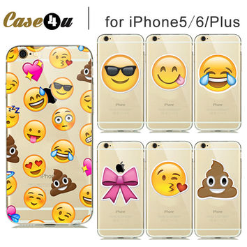 Flexible Silicone Phone Case For Capinhas iphone 5 SE 5S 6 6S 6/6s Plus Funny emoji Cases Smiley Redbow PooP Best Friend Gifts
