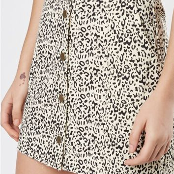 Leopard Button Mini Skirt