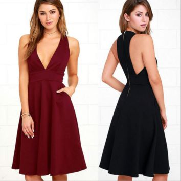 Sexy Maroon Plunge Zip Back Boutique Party Dress