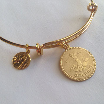 Woman Golfer and Frog Charm Adjustable Expandable Bracelet Gold Handmade Wire Bangle Stacking Bangle Trendy Paris French